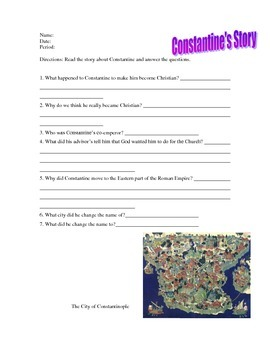 Constantine Reading Worksheet