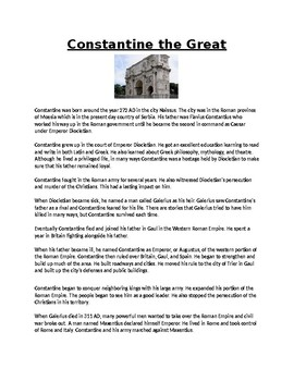 Constantine the Great Biography Article and Assignment