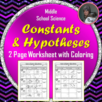 Constants Controlled Variables And Hypotheses Worksheet With Coloring