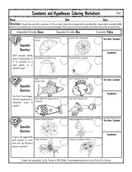 Constants (Controlled Variables) and Hypotheses Worksheet with Coloring