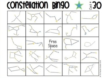 Constellation Bingo with 30 Unique Boards and Calling Cards