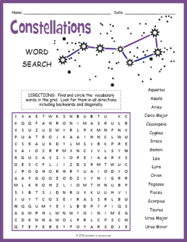 constellations word search puzzle by puzzles to print tpt. Black Bedroom Furniture Sets. Home Design Ideas