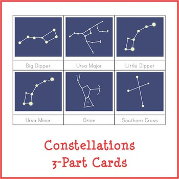 Montessori Constellations 3-Part Cards {Dark Background}