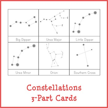 Montessori Constellations 3-Part Cards {White Background}
