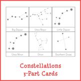 Montessori Constellations 3-Part Cards {White Background}