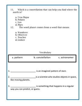 Constellations Assessment - 4th Grade Science