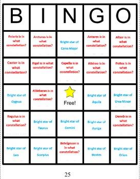 Constellations Bingo 2 -- Bright Stars