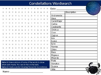 Constellations Wordsearch Sheet Science Physics Stars Starter Activity Keywords