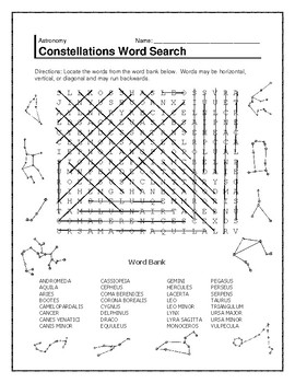 Constellations and Stars Word Search