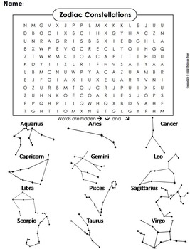the zodiac constellations activity word search space science astronomy unit. Black Bedroom Furniture Sets. Home Design Ideas