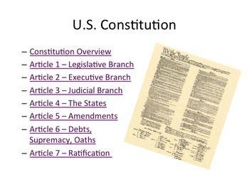 US Constitution Presentation and Worksheet