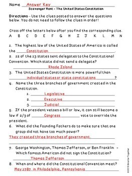 Constitution Day Informational Text and Scavenger Hunt