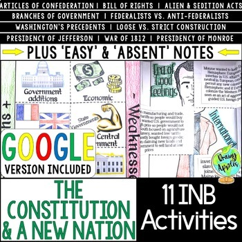 Constitution & A New Nation Interactive Notebook Activities, Early US History