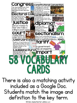 Constitution & New Nation Vocabulary Cards; Word Wall; Distance/Digital Learning