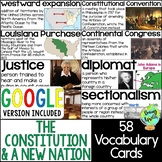 Constitution & New Nation Vocabulary Cards; Word Wall; Dis