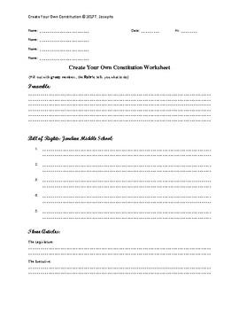 Constitution Activity for Substitute or Class Project