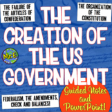 Constitution Notes: Guided Notes & PPT for US Government, 3 Branches, Amendments
