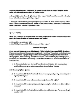 US Constitution Bill of Rights Court Cases and Discussion Questions
