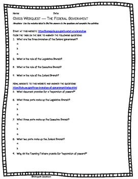Constitution, Bill of Rights, Federal, States, and Local Gov'ts Webquests Pack