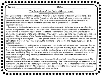 Constitution Branches of Goverment Compare Contrast Cause Effect Close Read Unit
