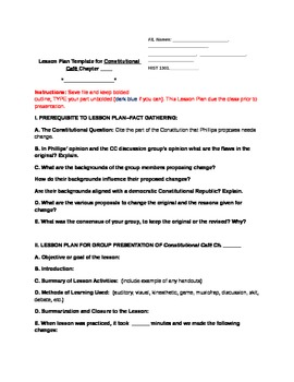 """Constitution Cafe"" Lesson Plan Template and Grading Rubric for Ch. Prez"