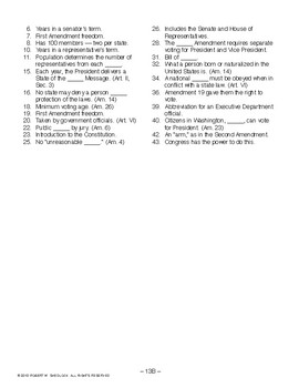 Constitution Crossword Puzzle, AMERICAN GOVERNMENT LESSON 13 of 105