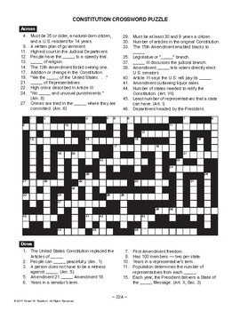 constitution crossword puzzle american history lesson 32 of 100. Black Bedroom Furniture Sets. Home Design Ideas