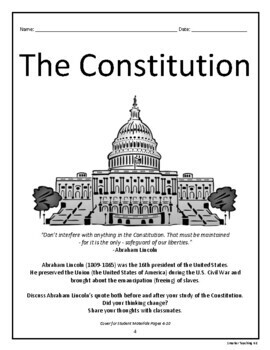The Constitution: Social Studies, Reading, Writing, Art