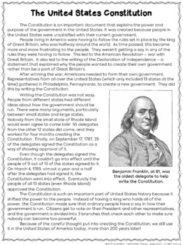 Constitution Day Activity: Reading Comprehension and Task Cards