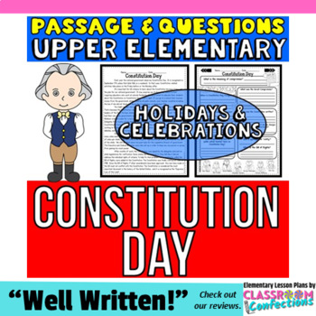 Constitution Day: Passage with Questions: Reading Comprehension Activity