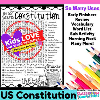 Constitution Day Activity: Constitution Day Word Search: Vocabulary