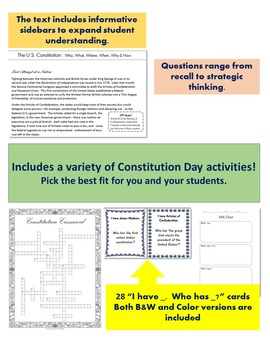 Constitution Day Activity Packet – For Grades 7-9 History