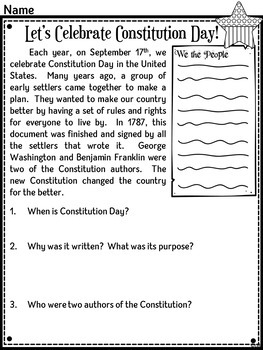 Constitution Day Bundle for Primary Grades