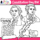 Constitution Day Clip Art {Founding Fathers, George Washington, Franklin} B&W