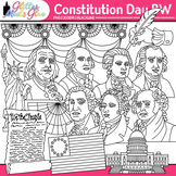 Constitution Day Clip Art | Founding Fathers, George Washington, Franklin | B&W