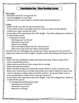 Constitution Day Close Reading Lesson Grades 4 and 5