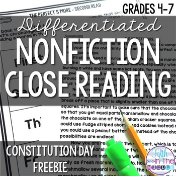 FREE Constitution Day Differentiated Close Reading Texts and Activities