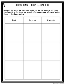 FREE Constitution Day Nonfiction Close Reading Comprehension  Passage/Questions