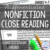 FREE U.S. Constitution Day Close Reading Comprehension Pas