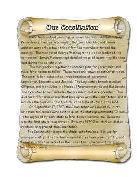 Constitution Day Comprehension and Text Evidence Activity