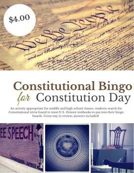 Constitution Day Constitutional Bingo