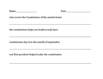 Constitution Day Editing Worksheet