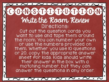Constitution Day Facts Write the Room