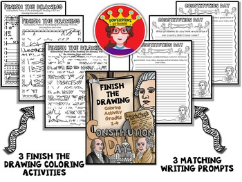 Constitution Day Finish The Drawing Coloring and Writing Activity