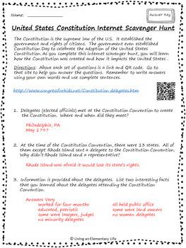 United States Constitution - Internet Scavenger Hunt