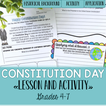 Constitution Day Lesson & Activity grades 4-7
