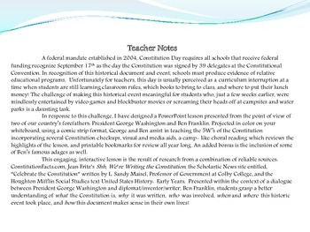 Constitution Day Lesson Plan with George and Ben- An  Interactive Powerpoint