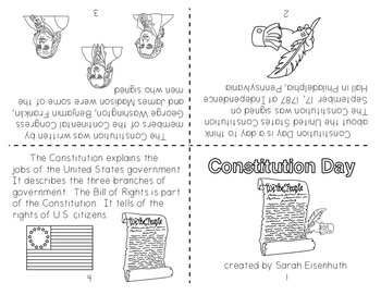 Constitution Day Little Foldable Book