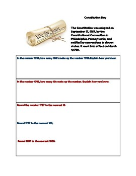 Constitution Day Math