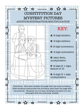 Constitution Day Math Mystery Pictures Addition Subtraction Multiplication